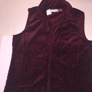 Women's plum fleece vest Large i.b. diffusion new